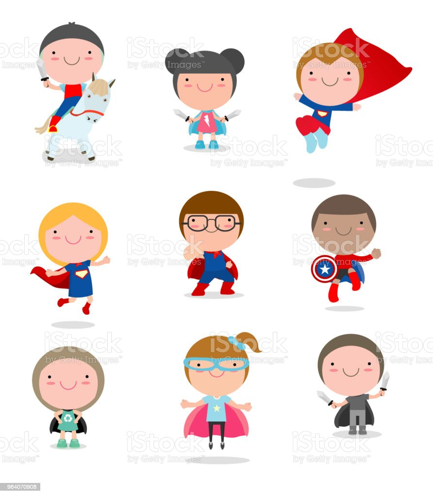 Kids With Superhero Costumes set, kids in Superhero costume characters isolated on white background, Cute little Superhero Children's collection, Superhero Children's, Superhero Kids. - Royalty-free Activity stock vector