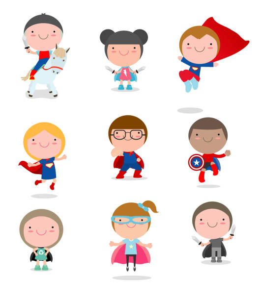ilustrações de stock, clip art, desenhos animados e ícones de kids with superhero costumes set, kids in superhero costume characters isolated on white background, cute little superhero children's collection, superhero children's, superhero kids. - super baby