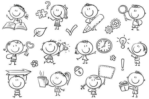 Kids with Symbols vector art illustration