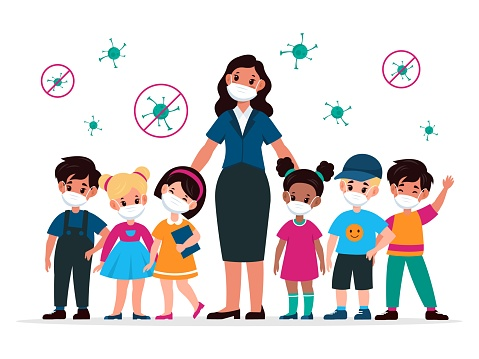 Kids with teacher with masks. Pedagogue and children wearing medic protective mask and viruses around. Stop the spread Covid-19 in school, beware epidemic flat vector illustration