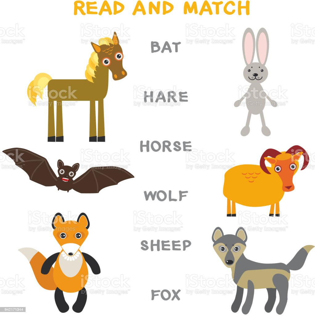 Kids Words Learning Game Worksheet Read And Match Funny Animals Bat