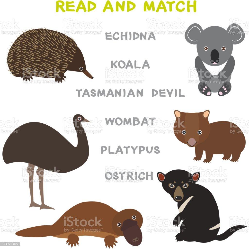 Kinder Wörter Lernen Spiel Arbeitsblatt Gelesen Und übereinstimmen ...