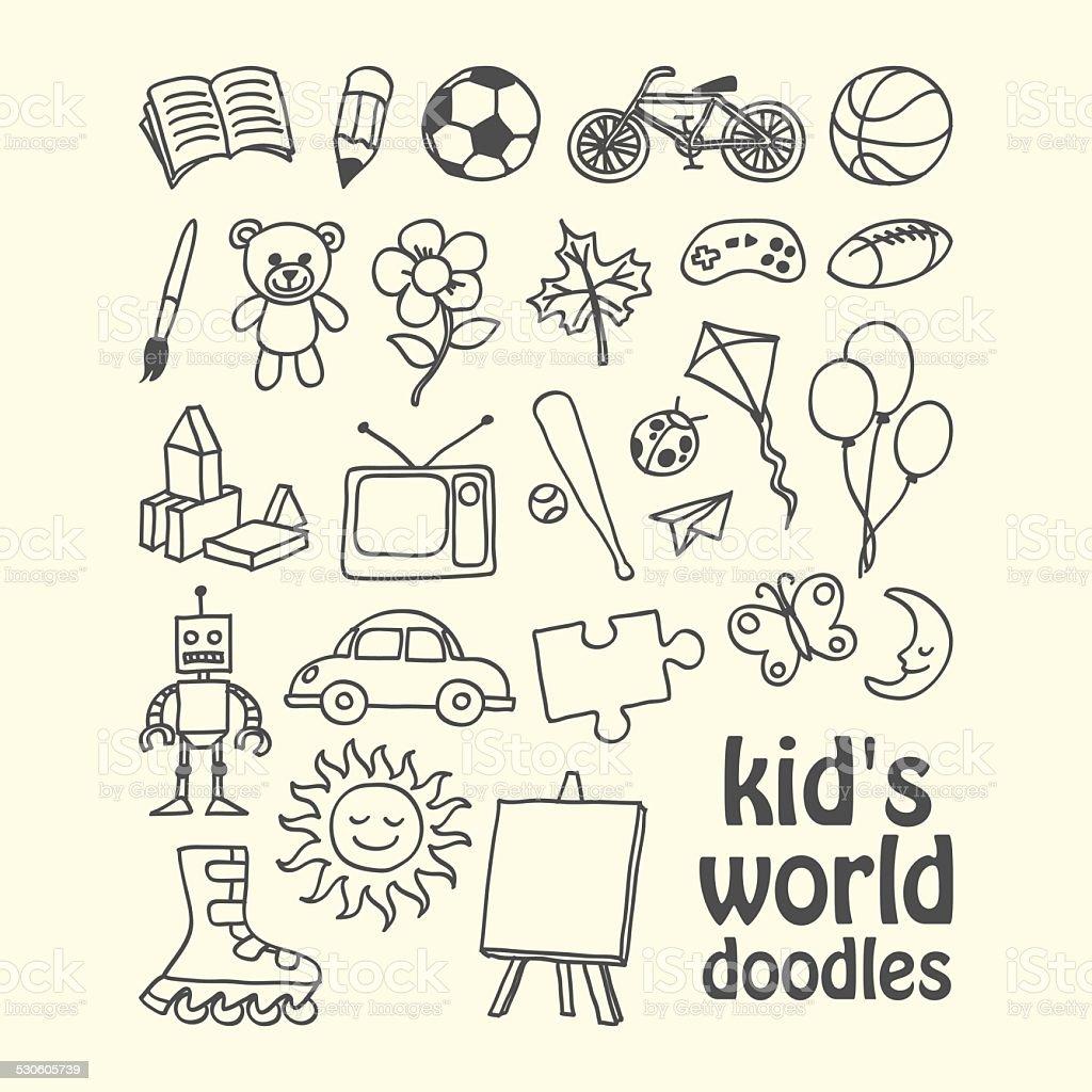 Kid's World Doodles vector art illustration