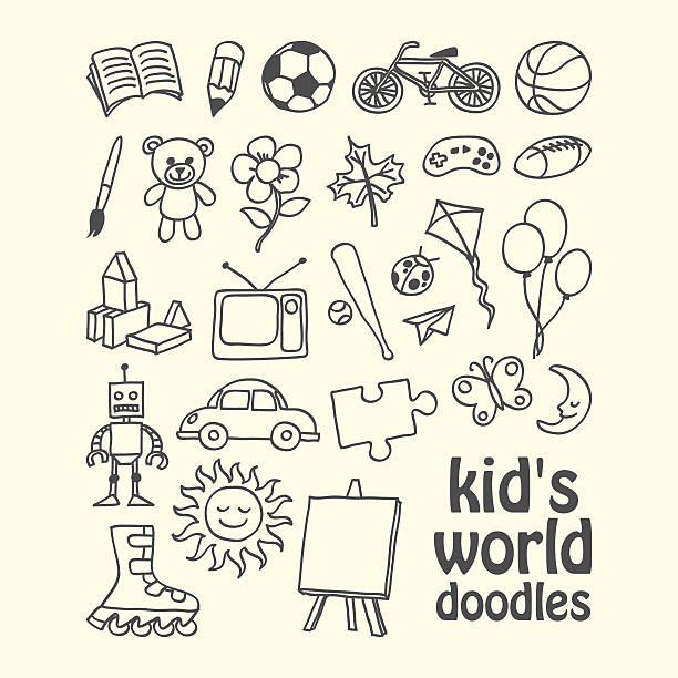 Kid's World Doodles vector art illustration