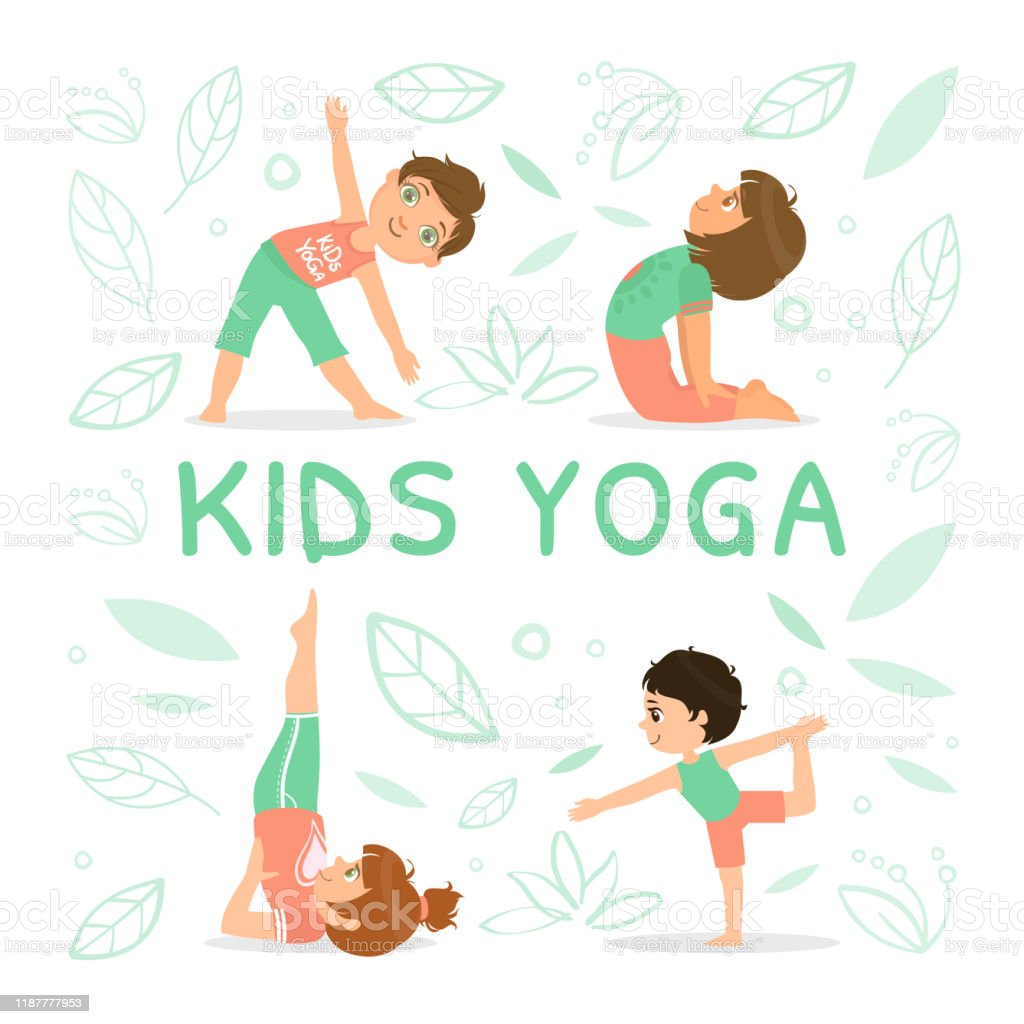 Kids Yoga Banner Template With Children Demonstrating Various Yoga Positions Vector Illustration Stock Illustration Download Image Now Istock