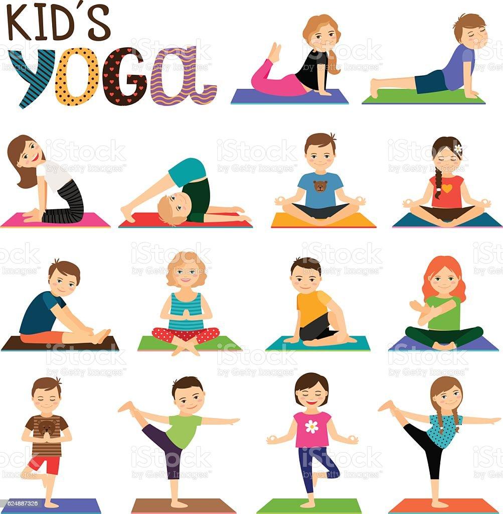 Kids Yoga Icons Set Stockvectorkunst en meer beelden van Aanraken ...