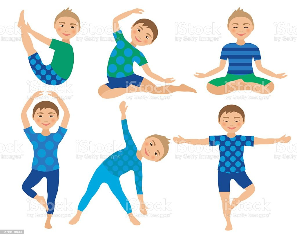 Kids Yoga Poses Vector Illustration Child Doing Exercises Posture For Stock Illustration Download Image Now Istock