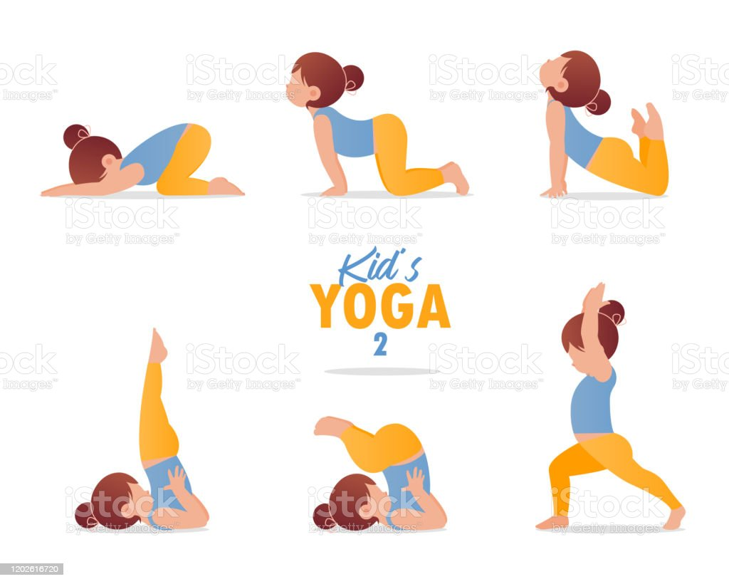 Kids Yoga Set Gymnastics For Girl Children And Healthy Lifestyle Cartoon Kids In Different Yoga Poses Vector Stock Illustration Download Image Now Istock