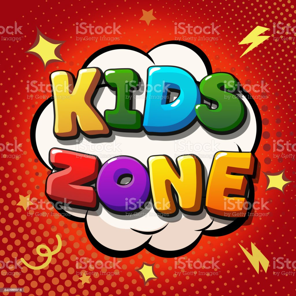 Kids zone banner design. Children playground vector art illustration