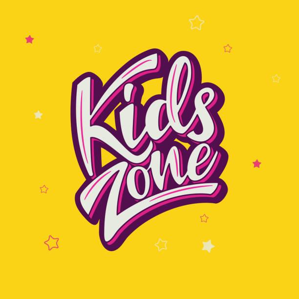 bildbanksillustrationer, clip art samt tecknat material och ikoner med barnen zon banner design med bokstäver. vektorillustration. - tidszon