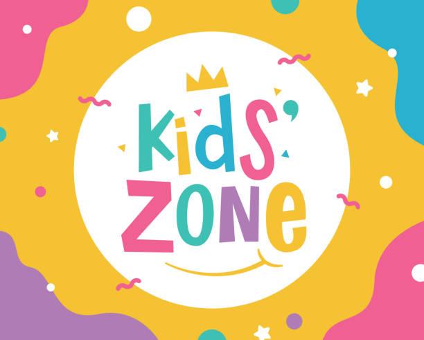bildbanksillustrationer, clip art samt tecknat material och ikoner med banner-mall för kids zone - förskola