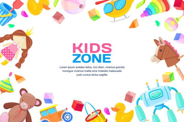 kinder-zonenkonzept, vektor rahmen mit spielzeug gesetzt. farbe-spielzeug für jungen und mädchen, cartoon illustration. - kinderspielzeug stock-grafiken, -clipart, -cartoons und -symbole