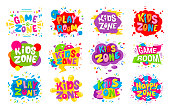 Kids zone emblem colorful cartoon illustrations set. Children playground area logo isolated on white background. Playing room lettering in bubbles collection. Vivid color childish stickers