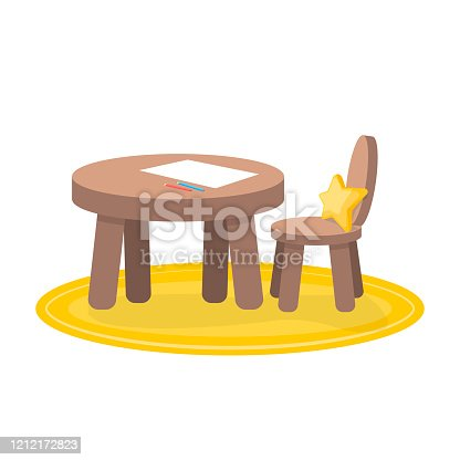 Kids zone, little table and chair for painting, children's creativity. Isolated illustration on a white background.