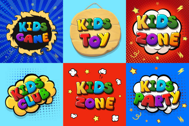 Kinder-Zone-Logo-Set.. Kinder-Club-Cartoon-Plakate. Spielzeug Spaß spielzone, Kinder Spiele Party Vector Illustration. – Vektorgrafik