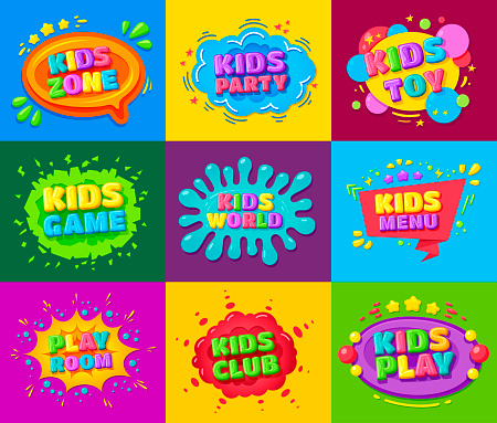 Kids zone, toy, party, game, world, menu, club, play room bright banner, poster, flyer set.
