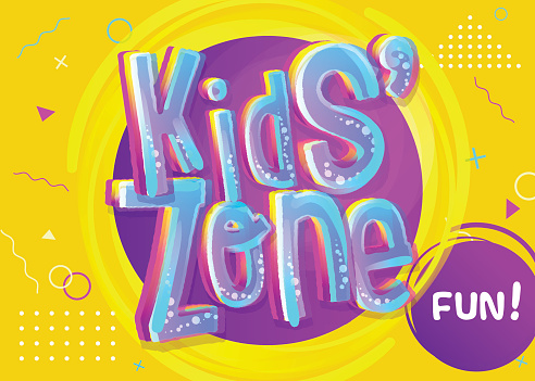 Kids Zone Vector Banner in Cartoon Style. Bright and Colorful Illustration for Children's Playroom Decoration.