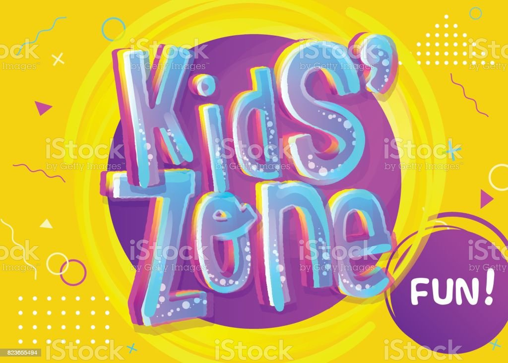 Kids Zone Vector Banner in Cartoon Style. Bright and Colorful Illustration for Children's Playroom Decoration. vector art illustration