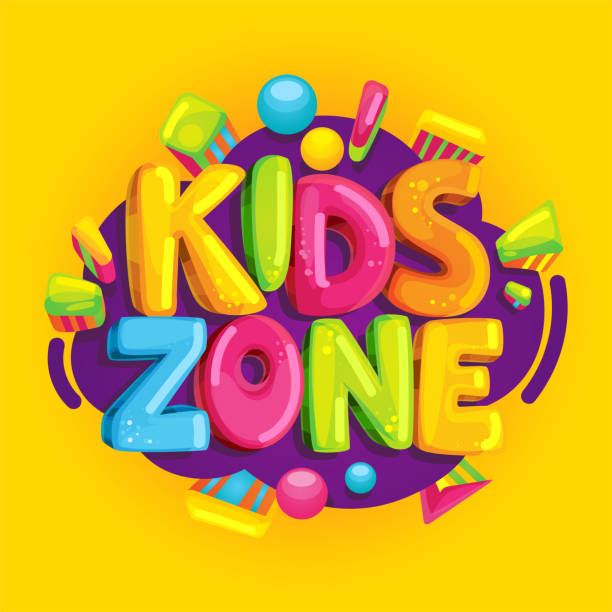 kids zone vektor cartoon banner. - baby party stock-grafiken, -clipart, -cartoons und -symbole