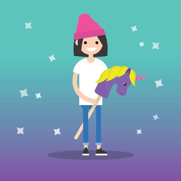 bildbanksillustrationer, clip art samt tecknat material och ikoner med kidult (barn + vuxen) konceptuell illustration: unga kvinnliga vuxen rider en hobby häst / platt redigerbara vektorillustration - sparkle teen girl