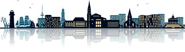 skyline von kiel - ostsee stock-grafiken, -clipart, -cartoons und -symbole