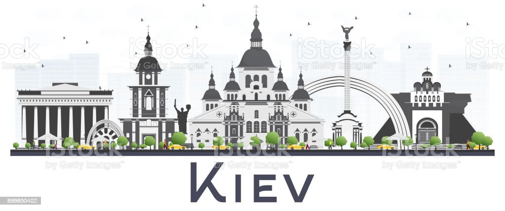 Kiev Ukraine City Skyline with Gray Buildings Isolated on White Background. royalty-free kiev ukraine city skyline with gray buildings isolated on white background stock illustration - download image now