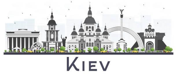 キエフ ウクライナ都市スカイライン白い背景に分離されたグレーの建物。 - ウクライナ点のイラスト素材/クリップアート素材/マンガ素材/アイコン素材