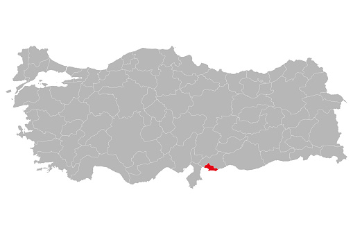 Kilis province marked red color on turkey map.