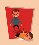 Killer character killed businessman. Vector flat cartoon illustration