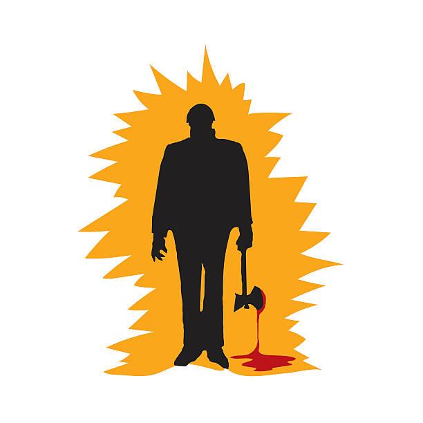 Killer psycho with bloody axe vector art illustration