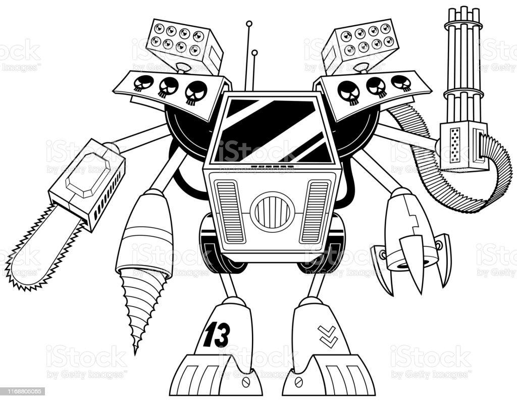 killer roboter linie kunst stock vektor art und mehr