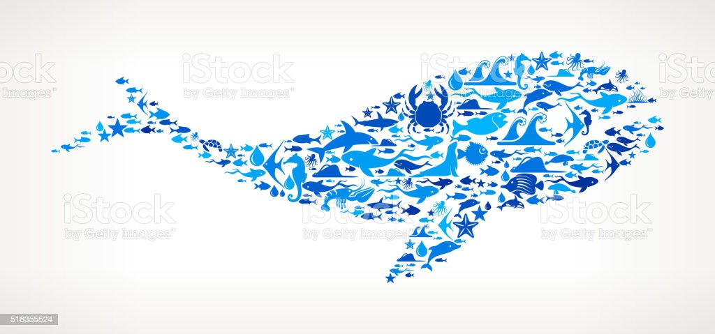 killer whale Ocean and Marine Life Blue Icon Pattern vector art illustration
