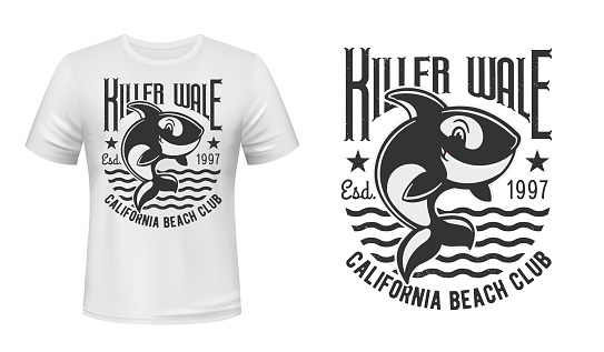 Killer whale t-shirt print vector mockup