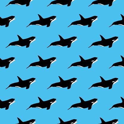 Killer Whales Seamless Pattern