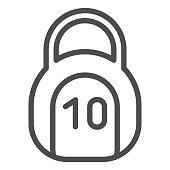 10 kilogram kettlebell line icon. Strength vector illustration isolated on white. Weighing outline style design, designed for web and app. Eps 10