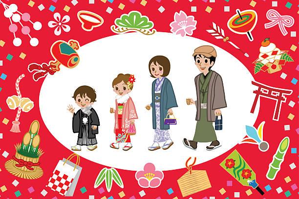 着物家族、日本の幸運の魅力 - 母娘 笑顔 日本人点のイラスト素材/クリップアート素材/マンガ素材/アイコン素材