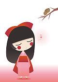 Kimono girl singing to a bird.
