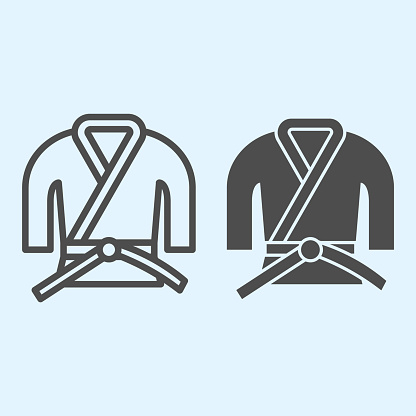 Kimono line and solid icon. Asian martial art costume, judo and karate or other suit with belt. Sport vector design concept, outline style pictogram on white background, use for web and app. Eps 10.