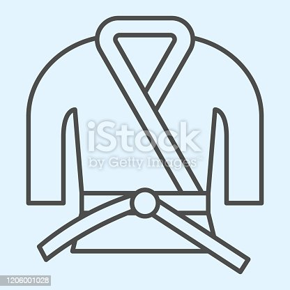 Kimono thin line icon. Asian martial art costume, judo and karate or other suit with belt. Sport vector design concept, outline style pictogram on white background, use for web and app. Eps 10