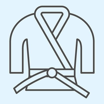 Kimono thin line icon. Asian martial art costume, judo and karate or other suit with belt. Sport vector design concept, outline style pictogram on white background, use for web and app. Eps 10.