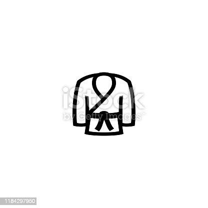 Kimono vector icon. Isolated Japan martial arts, judo, wrestling uniform flat black icon