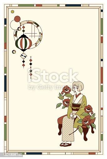 istock Kimono woman and retro round window vector frame illustration material 1324898150