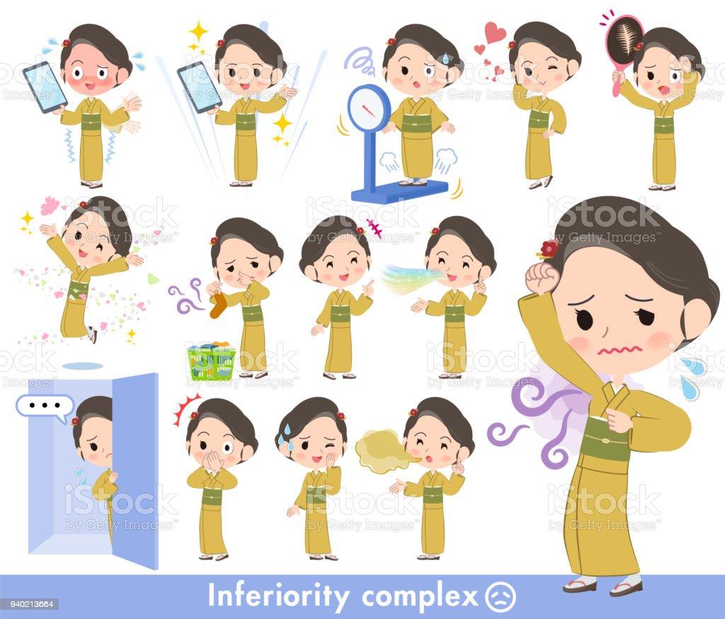 kimono Yellow ocher women_complex vector art illustration