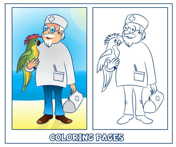 Royalty Free Coloring Page Outline Of Cartoon Doctor Clip Art ...