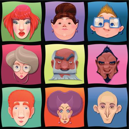 Caricature stock illustrations