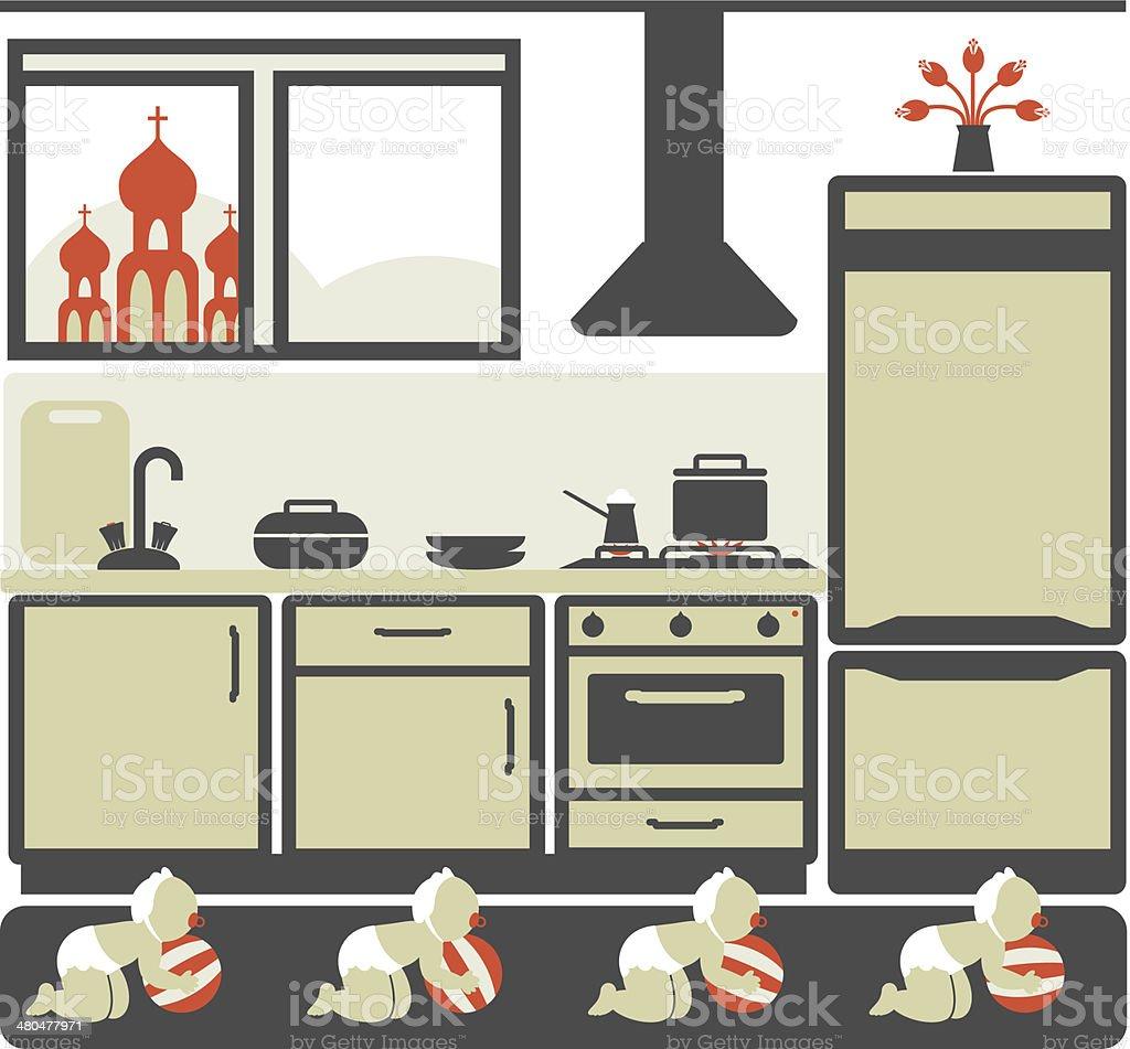 ... Illustration Kinder, Küche, Kirche Vector Art Illustration ...