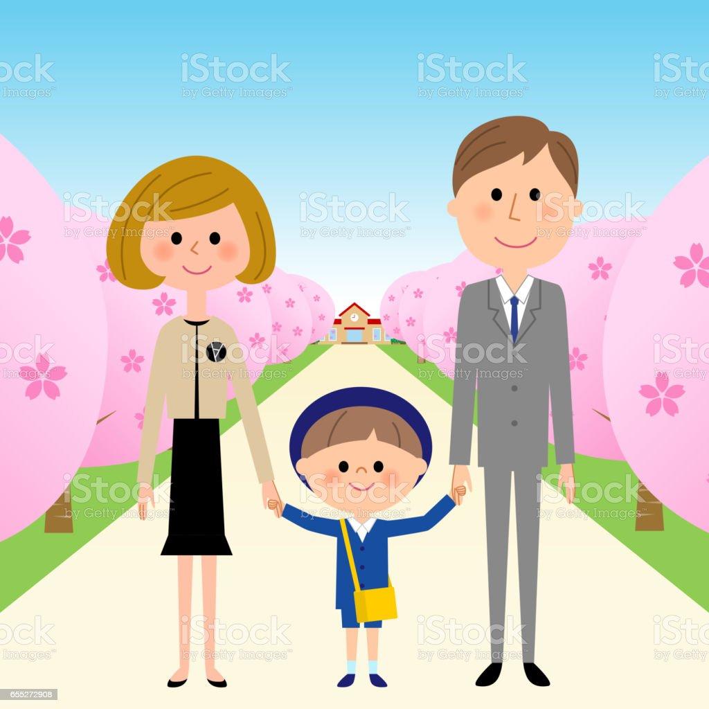 Kindergarten child, child nursery school, parents, and cherry blossoms vector art illustration