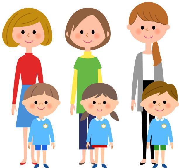 幼稚園の子、保育園子、母 - 母娘 笑顔 日本人点のイラスト素材/クリップアート素材/マンガ素材/アイコン素材