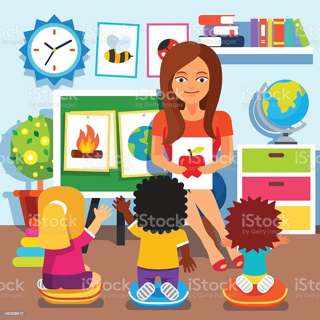 Kindergarten. Children studying in classroom vector art illustration