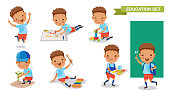 Kindergarten children. of Education set. Jumping, drawing, playing, planting trees, playing xylophone, holding food tray, backpacking. Student activity concept. character design.Vector illustrations